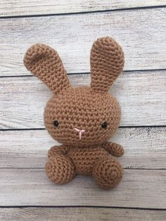 Crochet Bunny, Little My, Medium Brown, Embroidery Thread, Easter Bunny, Neutral, My Etsy Shop, Teddy Bear, Mini