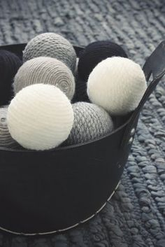 Yarn balls. decor with that extra yarn that you can't use!