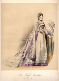Fashion plate, 1870's France, La Mode Artistique