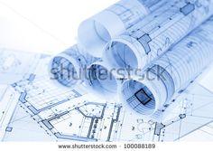 Advanced construction blueprint reading certificate stock photo rolls of architecture blueprints house plans malvernweather Choice Image