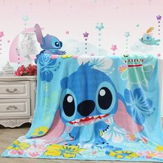 "Cute Disney LILO STITCH Plush Soft Silky Flannel Blanket Throw Bedding 79""x59"" in Home & Garden, Bedding, Blankets & Throws 