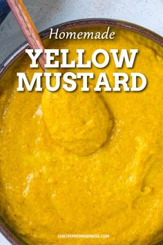 With this homemade yellow mustard recipe, you'll never need to buy overprocessed yellow mustard again. All you need is mustard powder, water, vinegar, and a few other optional ingredients. Homemade Yellow Mustard Recipe, Honey Mustard Recipes, Herb Recipes, Canning Recipes, Spicy Recipes, Keto Mayonnaise Recipe, Salad Dressing Recipes, Salad Dressings, Recipe Using