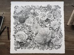 Artist Xavier Casalta (previously) wows us again with his miraculous patience and steady hand in this latest illustration titled Autumn, a flowing depictionof intertwined flowers, gourds, plants, and other vegetation. Casalta uses a technique called stippling, where a multitude of tiny ink dots