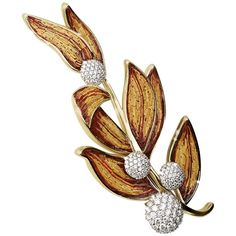 Sicis Lauro Diamond Gold Micromosaic Brooch | From a unique collection of vintage brooches at https://www.1stdibs.com/jewelry/brooches/brooches/