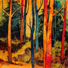 Forest Wonders mixed media abstract tree landscape painting Carol Nelson Fine Art, painting by artist Carol Nelson Abstract Landscape, Landscape Paintings, Abstract Art, Abstract Trees, Landscape Quilts, Forest Mural, Forest Art, French Paintings, Tree Paintings