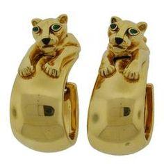 Cartier Black Onyx Emerald Gold Panthere Hoop Earrings