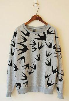 [grzxy6600077]Roman Style Leisure Slim Swallow Print Sweatshirt