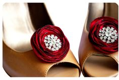 Red Flower Shoe Clips with Rhinestones (by Nia Person Bridal)