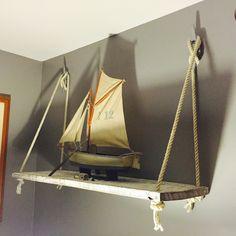 Rustic nautical barn wood rope boat cleat wall shelf. Diy