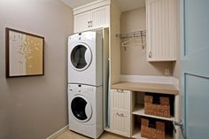 way to hide the washing machine and the heater in the kitchen