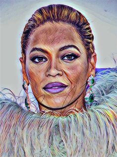 Beyonce Drawing Sketch Illustration Wall Art PRINT portrait