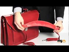 ▶ Deep Red Italian Real Leather Laptop Briefcase by Hideonline - YouTube