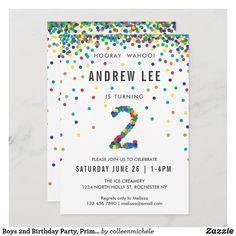 Boys 2nd Birthday Party, Primary Color Confetti Invitation Second Birthday Boys, Bubble Birthday, Rainbow Birthday, Kids Birthday Party Invitations, 3rd Birthday Parties, Custom Invitations, Confetti, Color, Colour
