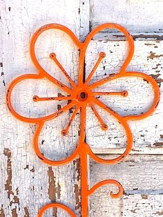 Iron Wall Hook Bright Orange Hanger  Rustic by AlacartCreations
