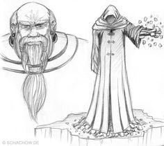 Zeichnung von einem Zauberer:  http://www.schachow.de/skizze-von-einem-zauberer/