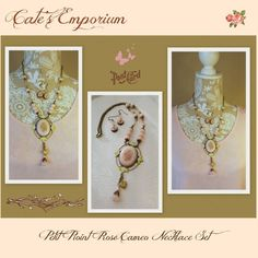 March 2016 Spring Has Sprung Challenge~Petitpoint Rose Cameo Necklace set. B'Sue petitpoint rose cameo, leafy bezel (hand altered), rolo chain and large bead cap on the necklace. Ceramic flowers and small bezels on the earrings are B'Sue's. All other from my stash. Find me on Facebook under Cate's Emporium and on Etsy at www.VRBBoutique.etsy.com.
