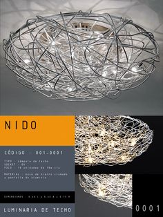 Luminaria de Techo modelo NIDO CÓDIGO : 001-0001 TIPO : Lámpara de techo SOCKET : G4  FOCO : 10 unidades de 10w c/u MATERIAL : Metal DIMENSIONES : 0.40 L x 0.40 A x 0.15 H