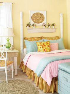 DIY Bed Frame-Fashion a stylish bed frame using old porch or fence posts. Refinish the posts with a coat of fresh paint and watch as the items take on a new life. Hang a strip of aged molding above the bed to, artwork, and other knickknacks. Cld use post for trace bed