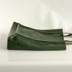 Dark Green Leather Tote by CrowSLC on Etsy