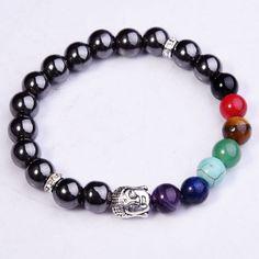 Magnetic Hematite Therapy 7 Chakra Crystal Buddha Head Bead Bracelet