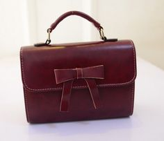 Bow Decoration Handbags Single Shoulder Bag Wine Red BD15041503-1.http://www.clothing-dropship.com