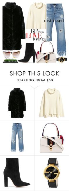 """""""My Mood Today - True Blue: Distressed Denim"""" by lidia-solymosi ❤ liked on Polyvore featuring Yves Salomon, 3x1, Gucci, Gianvito Rossi, Vintage, distressed, distresseddenim and distressedjeans"""