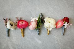 love how these boutonnieres are all a little different