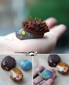 How cute are these little hedgehogs made with fallen conker shells and plasticine? #art #craft #kids