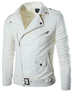 Men's white leather jacket