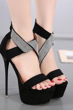 2481c3e55ffd PU Pure Color Stiletto Heel Peep Toe Platform Ankle Strap Zipper High Heels