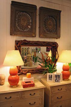 Greek #key accented #dresser and #Spitzmiller #lamps at #Chicago #Mecox #interiordesign #MecoxGardens #furniture #shopping #home #decor #design #room #designidea #vintage #antiques #garden
