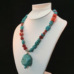 Turquoise, coral and carnelian necklace, turquoise and coral bead necklace, turquoise necklace, coral necklace,  turquoise, coral, carnelian by HaydeeDesigns on Etsy https://www.etsy.com/listing/233775245/turquoise-coral-and-carnelian-necklace #handmade #jewelry #etsyshop  #jewelrydesign #jewelryonetsy #giftforher