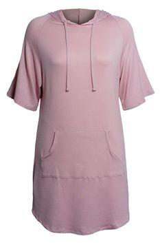 Women's Raglan Elbow Sleeve Kangaroo Pocket Hooded Plus Size Tunic Top