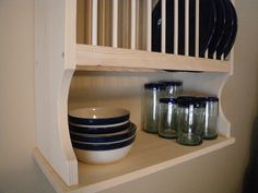 Wooden Painted Plate Rack Wall Unit | Plate racks, Shelves and Walls