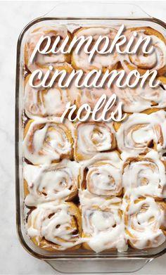 Pumpkin Cinnamon Rolls | Martha Stewart Living - Pumpkin-enriched yeast dough swirls around a cinnamon-sugar filling; cream cheese frosting cloaks the top of each roll.