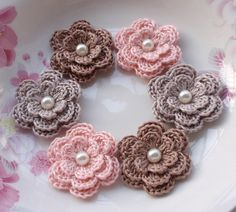 6 Crochet Flowers With Pearls In Ginger Snap Lt pink by YHcrochet, $5.40