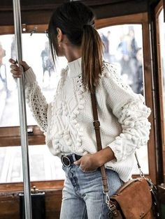 New White Cut Out Round Neck Long Sleeve Casual Pullover Sweater - Fashion Look Fashion, Fashion Outfits, Womens Fashion, Fashion 2018, Cheap Fashion, Fashion Fall, Fashion Styles, Latest Fashion Trends, Fashion Fashion