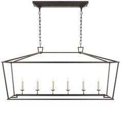 Darlene long black lantern with 6 candles