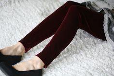 Hey, I found this really awesome Etsy listing at https://www.etsy.com/listing/113895467/burgundy-violet-velvet-leggings