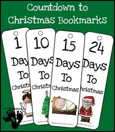Countdown To Christmas Bookmarks {Free} Christmas Countdown, Christmas Holidays, Christmas Crafts, Christmas Trees, Holiday Fun, Holiday Ideas, Xmas, Preschool Christmas Activities, Diy Advent Calendar