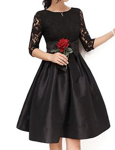 a40724218de   18.69  Women s Lace Plus Size Going out Sophisticated Skater Dress -  Solid Colored Black