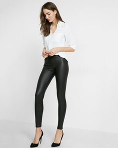 Rock out the leather-like texture and luster of curve-hugging scuba. Leggings don't get any sleeker or sexier than this.