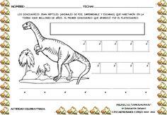 """Éstas son algunas de las fichas de los dinosaurios  con las que estamos trabajando y que incluiremos en nuestro """"dossier del proyecto """".   ... Dinosaur Projects, Erika, Montessori, Teaching, Ideas, Dinosaur Activities, Preschool, Dinosaur Worksheets, Preschool Worksheets"""