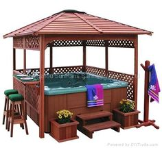 Roof shade, hot tub, hang some curtains for privacy & extra shade = Perfection