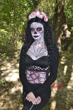 Sugar Skull, Day of the Dead body paint cosplay done by 16 year old Face Art FX by Rachel, done on herself. Painted face, neck, chest and stomach.  Photo credits: Last Waltz Photography https://www.facebook.com/FaceArtbyRachel Instagram: that.painting.girl YouTube: Face Art FX by Rachel Twitter: @FaceArtbyRachel
