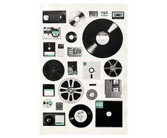 Impression sur toile DATA, noir et blanc - 40*60
