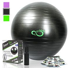 Exercise Ball -Professional Grade Anti Burst Tested with Hand Pump- Supports 2200lbs- Includes Workout Guide Access-65cm Balance Balls -- You can find out more details at the link of the image. (This is an affiliate link)