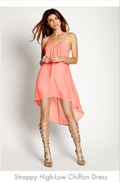 High-low dress with gladiator sandals.