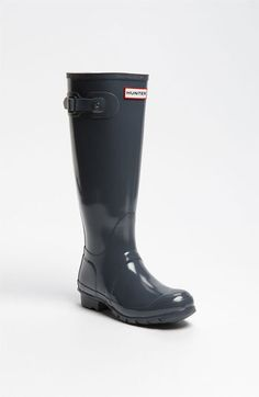 Hunter 'Original Tall' Gloss Rain Boot (Women) | Nordstrom in Graphite Grey $140