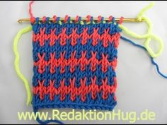 Knooking - pattern with slip stitch (IN GERMAN - If you are familiar with knooking, you can watch this video to learn this stitch... The video is very good... Deb)